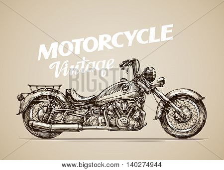 Vintage motorcycle. Hand-drawn retro motorbike. Vector illustration