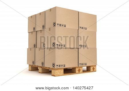 3D illustration of Cardboard boxes on pallet. Cargo delivery and transportation logistics storage.