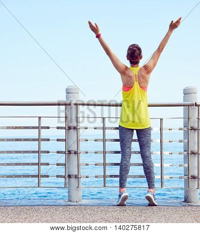 Relaxed Young Healthy Woman Rejoicing At Embankment