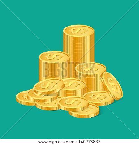 Stacks of golden coins. vector illustration. EPS 10.