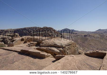 Nabatean altar at High Place of Sacrifice in Petra Jordan