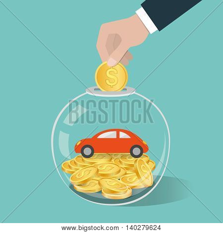 Money Saving Concept. Hand Putting A Coin Into Glass Bottle. Saving To Buy Car.