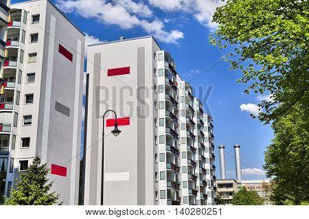 public housing in berlin kreuzberg in summer