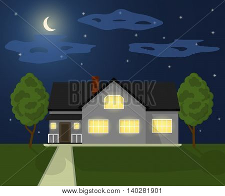 Family house. Home with garden. House in flat style. Night time landscape with cottage. Vector illustration.