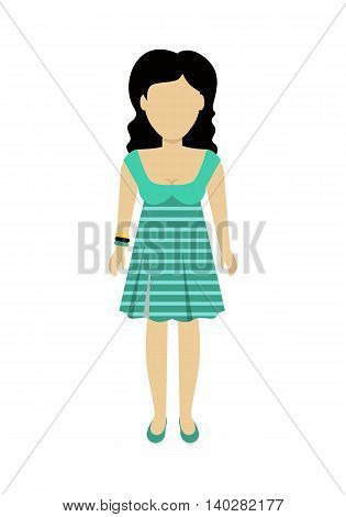 Female character without face in green dress vector in flat design. Woman template personage figure illustration for woman concepts, fashion app, logos, infographic. Isolated on white background.