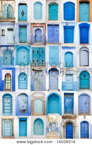 Very old, blue wooden doors of Morocco poster