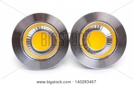Pair Of Energy Saving Led Light-emitting Diode Bulbs, With Socket Type Gu10 Isolated On A White Back