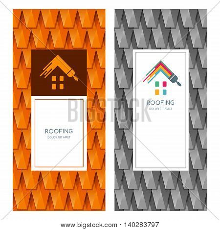 House Repair And Roofing Vector Logo, Label, Emblem Design Elements.