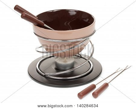 Brown Set For Fondue, For The Preparation Of Chocolate Fondue With A Candle, Isolated On A White Bac