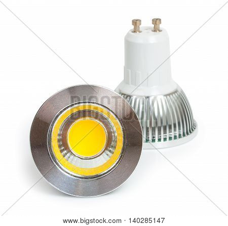 Pair Of Energy Saving Led Light-emitting Diode Bulbs, With Socket Type Gu10  Isolated On A White Bac