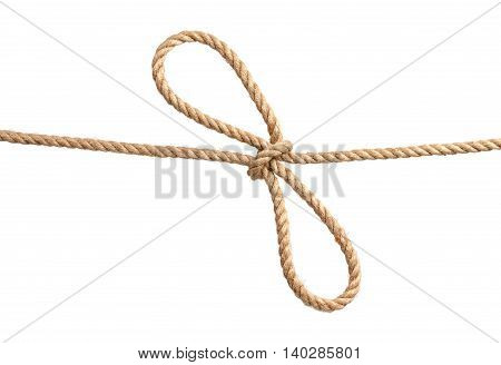 Rope with bowknot isolated on white background, close-up.