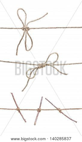 Rope With Knot, With Knot And Bowknot, Rope With Stcks Isolated On White.