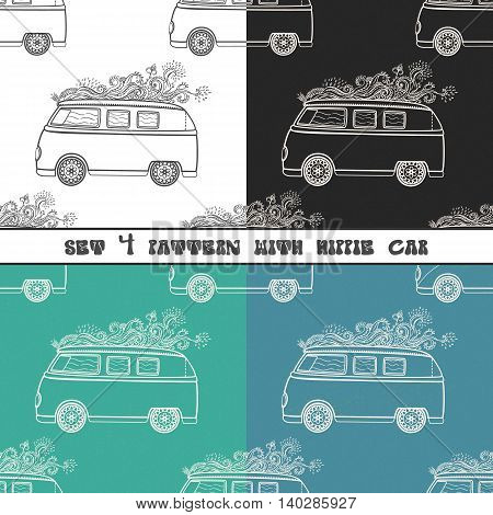 Hippie vintage car a minivan. Ornamental background. Love and Music with hand pattern fonts, textile doodle background and textures. Hippy color vector illustration. Retro 1960s, 70s style
