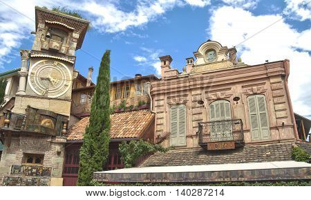 Marionette Theater in Old Tbilisi. Rezo Gabriadze falling tower.
