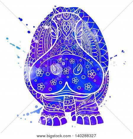 Ornament  hippo vector. Beautiful illustration hippopotamus for design, print clothing, stickers, tattoos, Adult Coloring book. Hand drawn animal illustration. Hippo lace ornamental watercolor