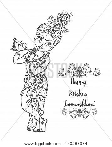 Ornament card with Lord Shri Krishna birthday. Illustration in vector art. Happy Janmashtami Day Hindu.