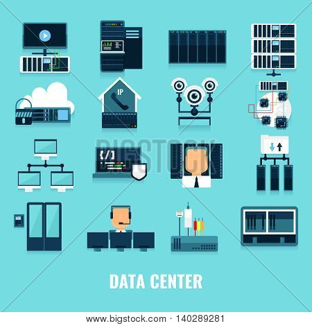 Flat icon datacenter icon set with different processes and equipment and tools for correctly work vector illustration