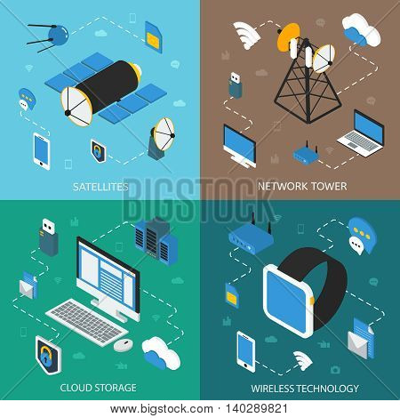 Wireless technology isometric concept with communication satellites network towers cloud storage digital devices isolated vector illustration