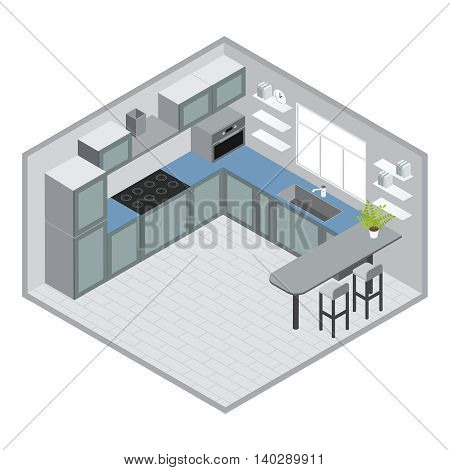 Isometric kitchen design with grey blue cabinets microwave bar counter stools window tiled floor clock vector illustration