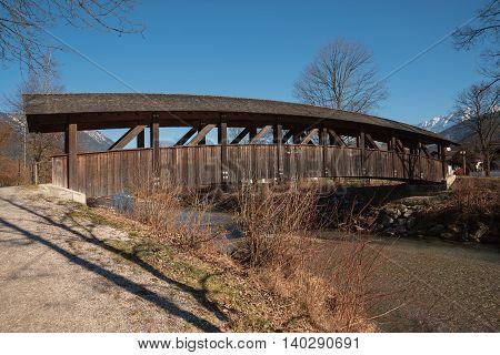 Wooden Rustic Bridge Over Loisach River, Garmisch-partenkirchen