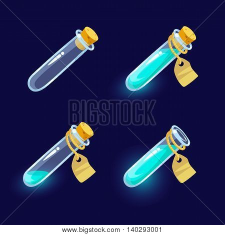Vector illustration. Set of Cartoon Bottles of potion.Glass flasks with colorful liquids isolated on a dark background. Game icon of magic elixir.Vector design for app user interface.For animation