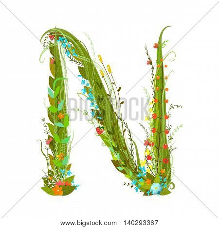Flower intricate ABC sign N. Floral summer colorful intricate calligraphy design lettering element. Vector illustration.