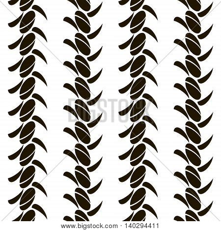 Abstract seamless pattern of roundish elements arranged in vertical rows. Black and white vector illustration for creative design