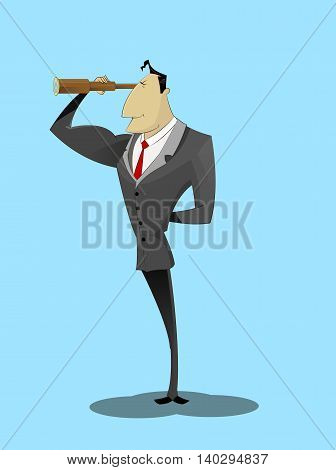 Businessman looking through spyglass and smiling, Vector concept illustration of success management and business prediction.
