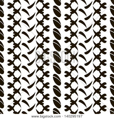 Abstract seamless pattern of divided ovals and roundish elements arranged in vertical rows. Black and white vector illustration for creative design