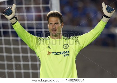 PASADENA, CA - JUNE 4: Asmir Begovic during the 2016 ICC game between Chelsea & Liverpool on July 27th 2016 at the Rose Bowl in Pasadena, Ca.