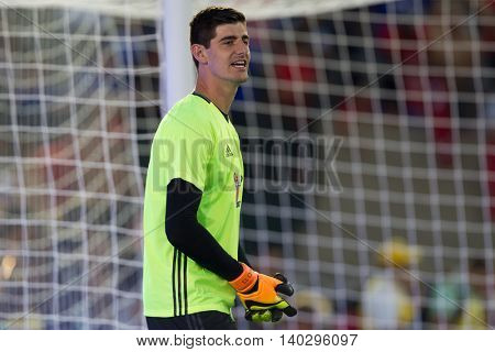 PASADENA, CA - JUNE 4: Thibaut Courtois during the 2016 ICC game between Chelsea & Liverpool on July 27th 2016 at the Rose Bowl in Pasadena, Ca.