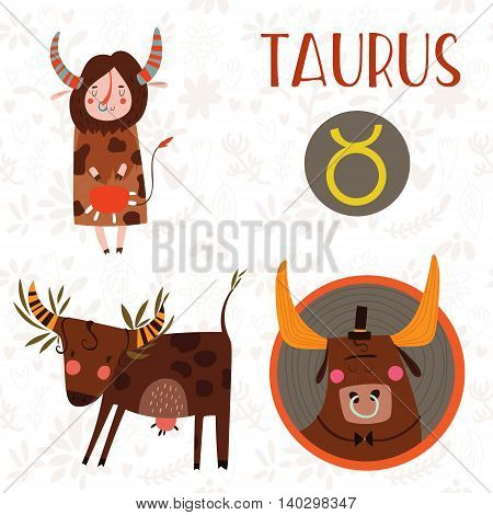 Cute Zodiac Sign-taurus-different  Illustrations  In Cartoon Style. Lovely Design For Adults And Kid