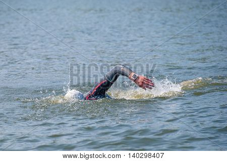 Triathlon Cup of Ukraine and Cup of Bila Tserkva. July 24 2016 in Bila Tserkva. Swimmer in a crawling contest