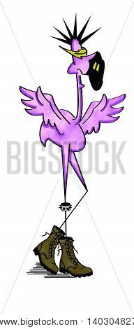 Purple punk rocker flamingo with spiked hair, army boots and studded jewlery
