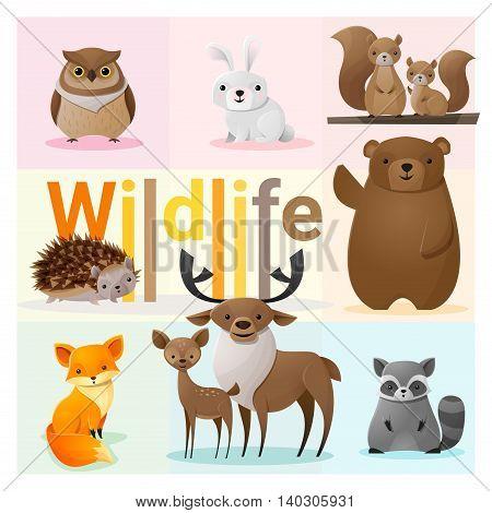 Set of Wild animals , vector , illustration