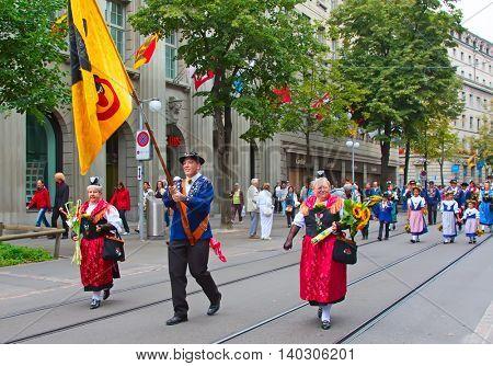 ZURICH - AUGUST 1: Swiss National Day parade on August 1, 2011 in Zurich, Switzerland. Representative of canton Uri in a historical costume.