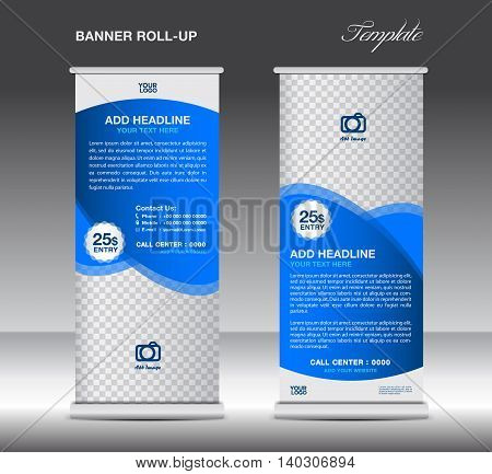 Blue Roll up banner template advertisement stand poster for business