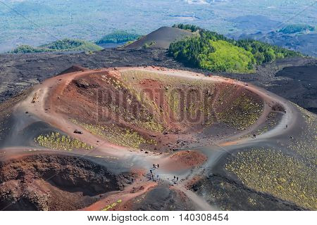 Aerial view of Silvestri crater at the slopes of Mount Etna at Sicily Italy