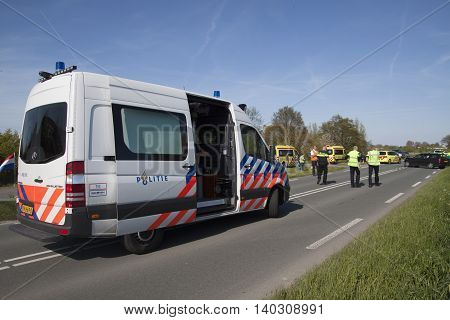 BOVENKARSPEL, THE NETHERLANDS MAY 5 2016: Accident investigation politce vehicle for investigation after a collision between two cars,