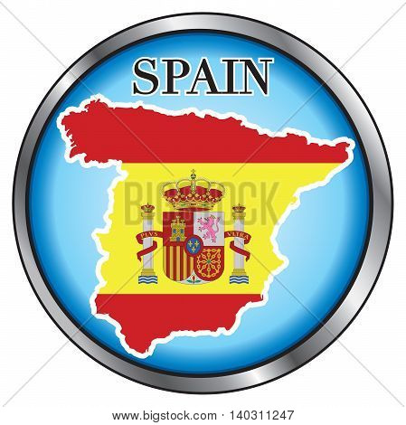 Vector Illustration for Spain Round Button Flag Map.