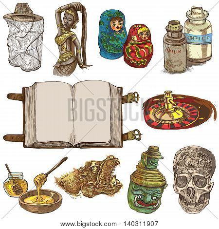 OBJECTS. Different things and art objects. Collection of hand drawn illustrations. Pack of full sized hand drawings. Set of freehand sketches. Colored line art technique. White background.