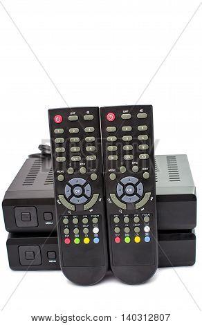 Digital TV electronics box on white background