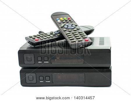 Digital TV electronics box, on white background