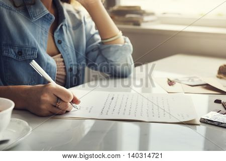 Woman Writing Letter Envelope Concept