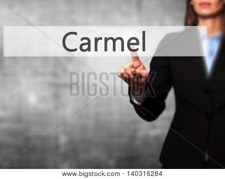 Carmel - Isolated Female Hand Touching Or Pointing To Button