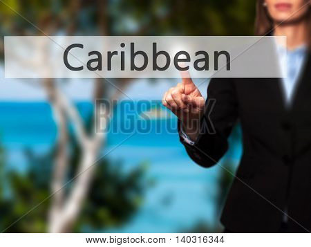 Caribbean - Isolated Female Hand Touching Or Pointing To Button