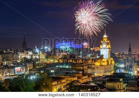 Dramatic firework display over Edinburgh during the Fringe festival.