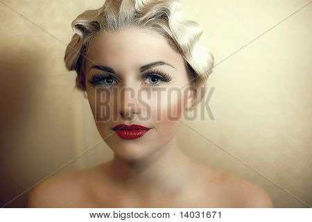 Naked Girl With Bright Make up