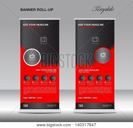 Red Roll up banner stand template advertisement poster for business
