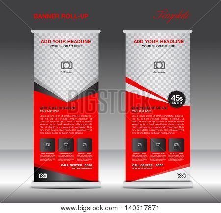 Red Roll Up Banner template vector illustration for business